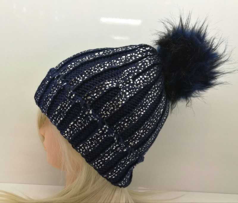 Chunky Knit Fleece Lined Hat - Navy with Silver Glitter