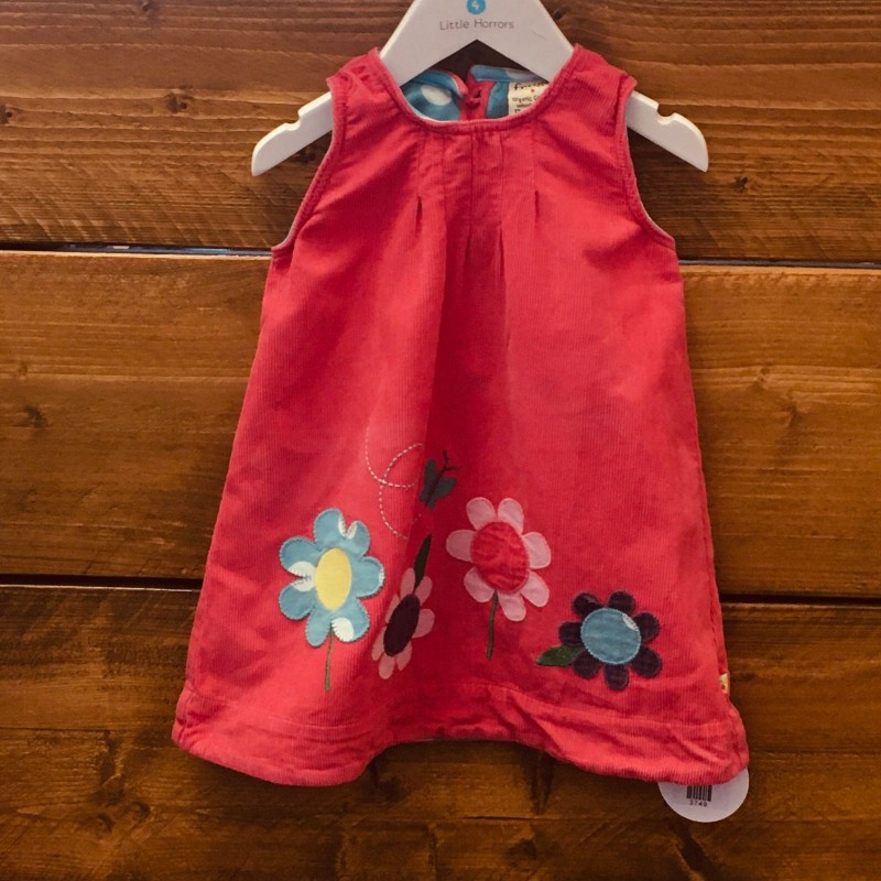 FRUGI PINK WITH FLOWERS CORD PINAFORE 12-18M
