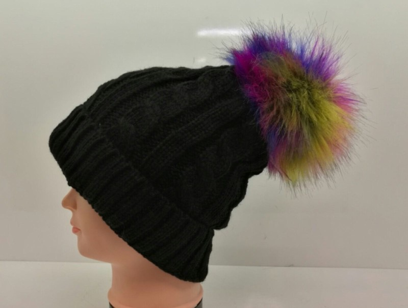 Chunky Knit Fleece Lined Hat - Black with Rainbow Pom Pom