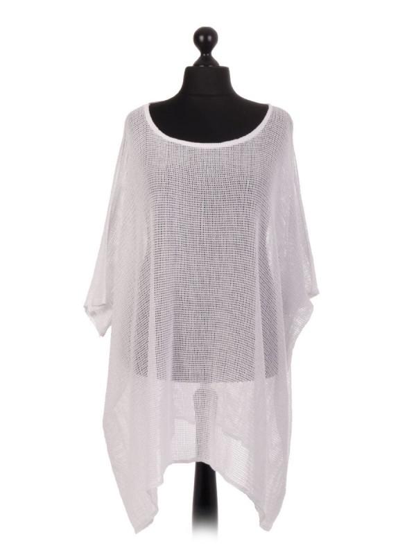 Italian Cotton Mesh Net Batwing Top - White