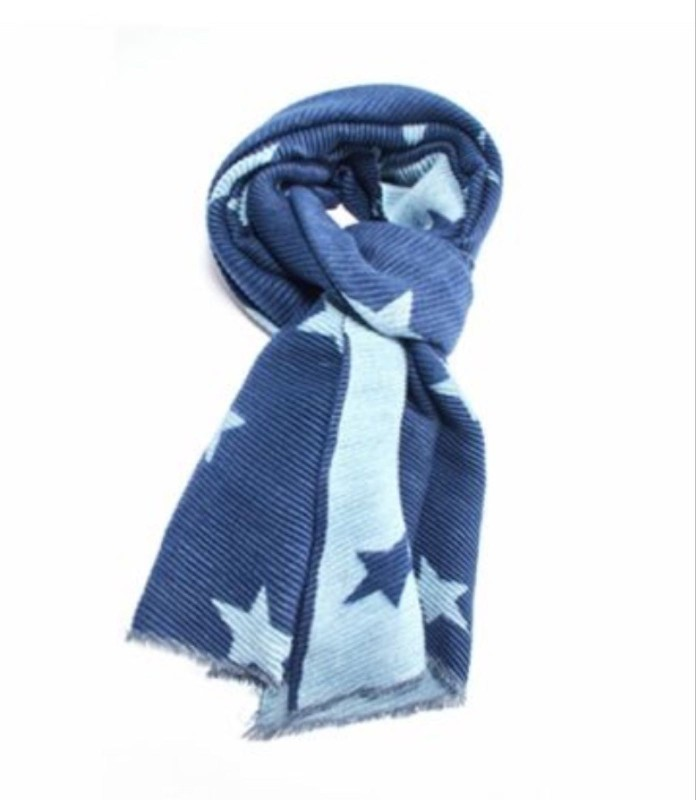 Pleated Scarf Stars - Blue/Duck Egg