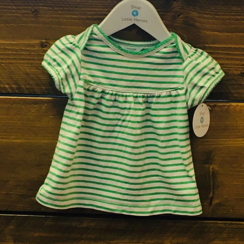 BABY BODEN GREEN/WHITE STRIPY DRESS  12-18M