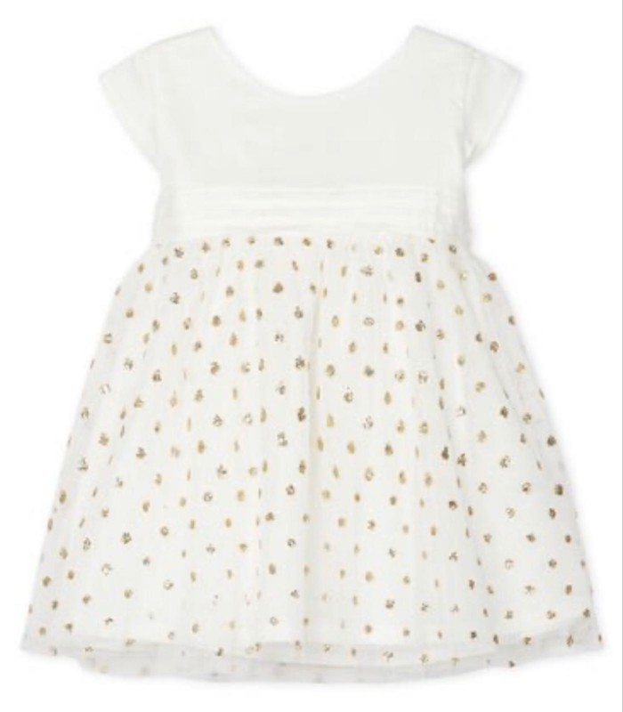 Petit Bateau White Party Dress with Gold Polka Dots