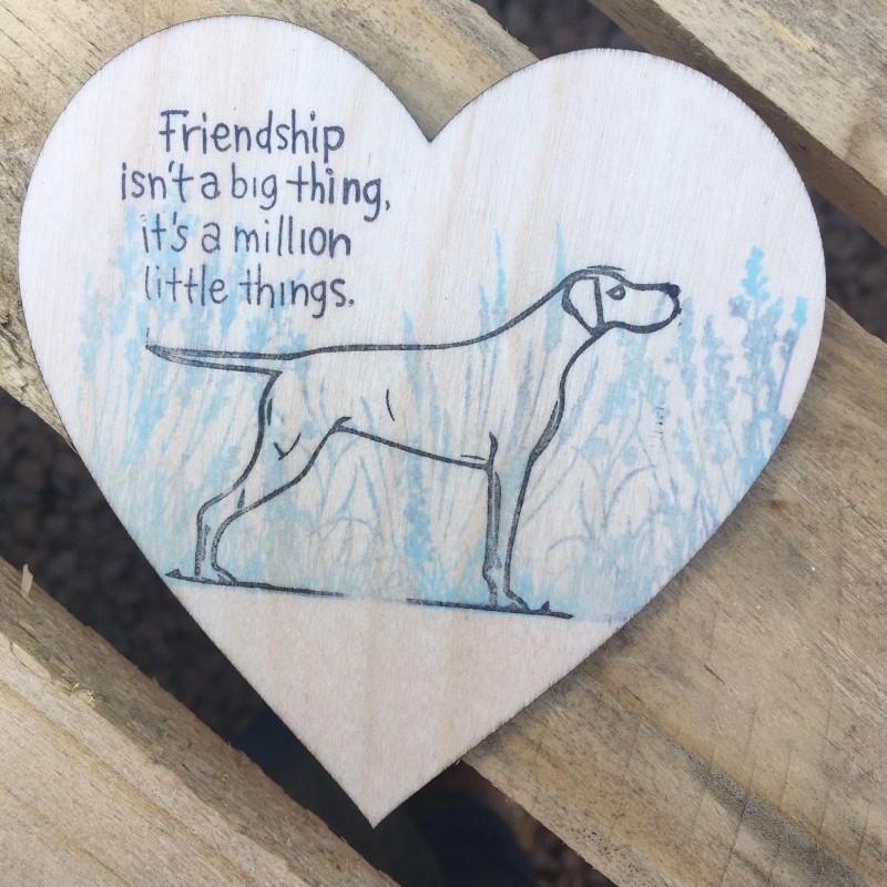 Wooden heart dog  coaster / hanging. 10cm