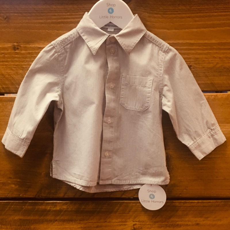 VERTBAUDET GREY/WHITE STRIPED SHIRT 12M