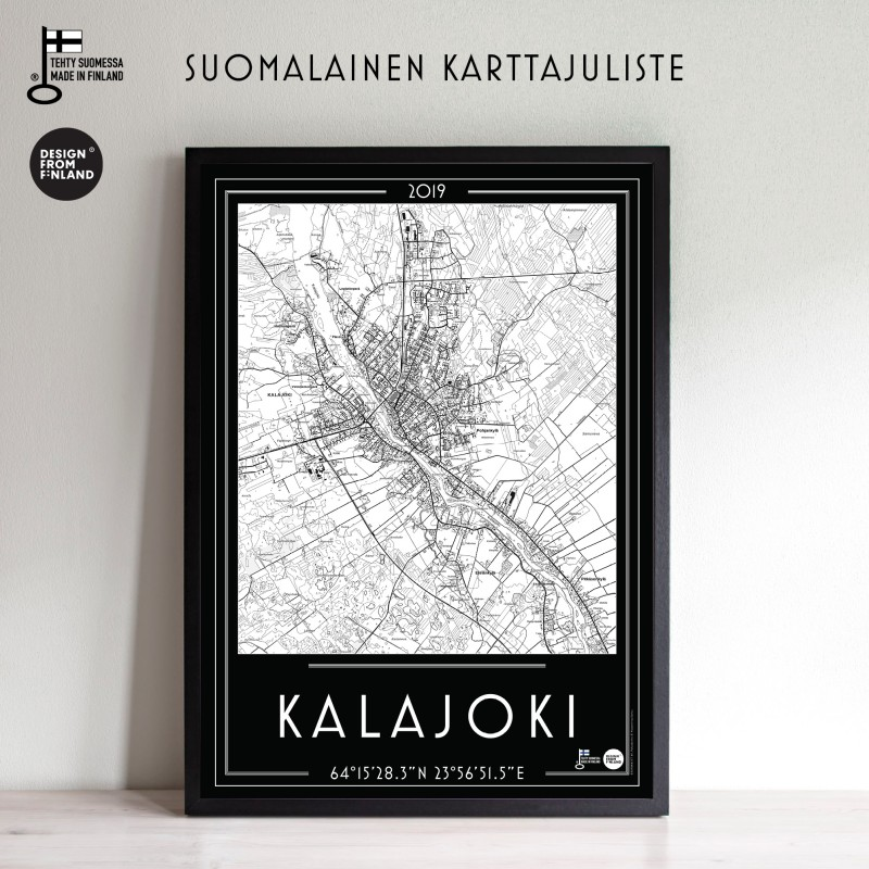 Kalajoki 2019 mustapoh, 50x70cm karttajuliste