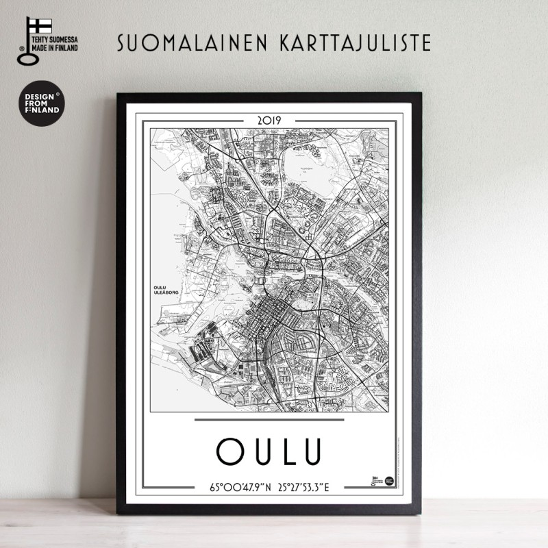 Oulu 2019, 50x70cm karttajuliste