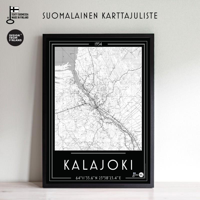 Kalajoki 1954 mustapoh, 50x70cm karttajuliste