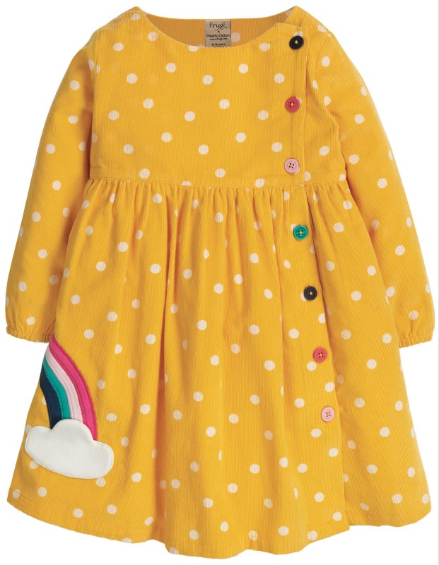 Frugi Bonnie Button Dress Bumble Bee Spot/Rainbow