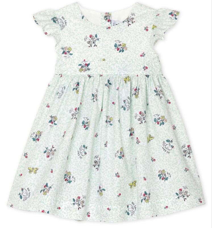 Petit Bateau Baby Girls' Short-Sleeved Flower Print Dress