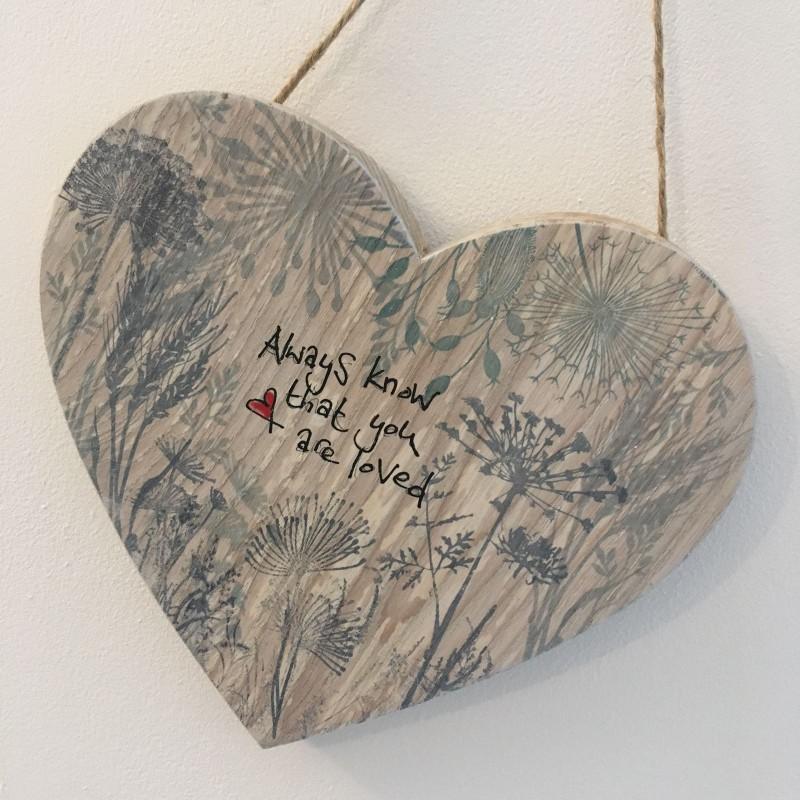 Spalted beech wooden hanging flower heart