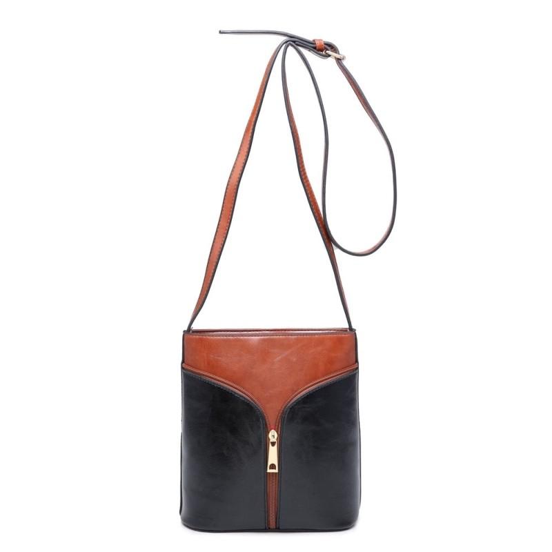 2 Tone Zip Cross Body Bag - Tan/Black