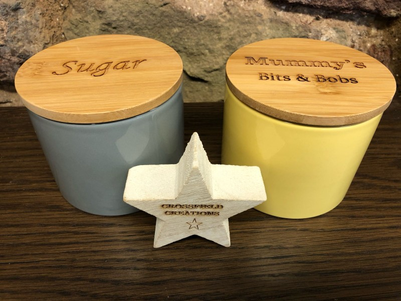 Ceramic Canister with Bamboo Lid - Personalised
