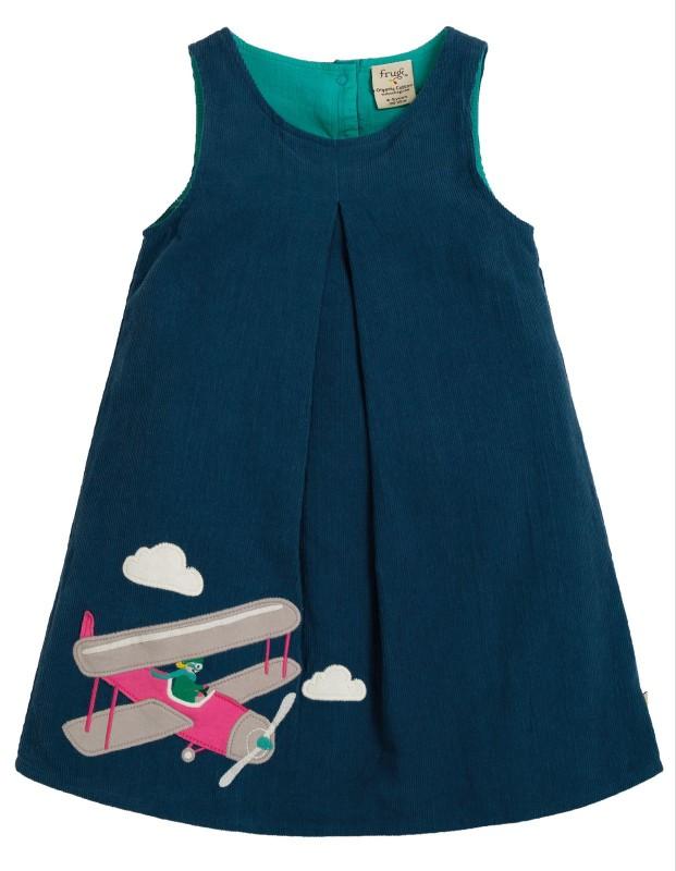 Frugi Amber Appliqué Dress Space Blue Pilot
