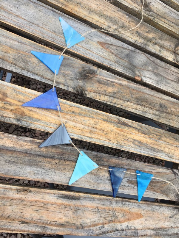 'Shades of the beach ' fused glass bunting  2m