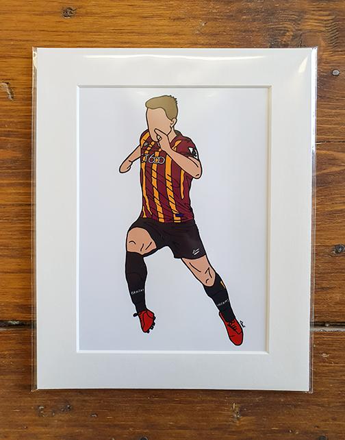 Bradford City AFC (BCAFC) Kit Mounted Artwork Print