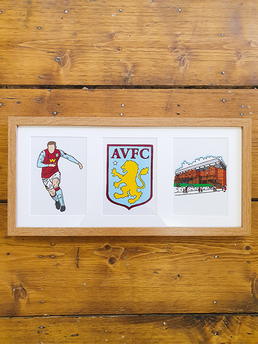 Aston Villa (AVFC) Triple Framed Artwork