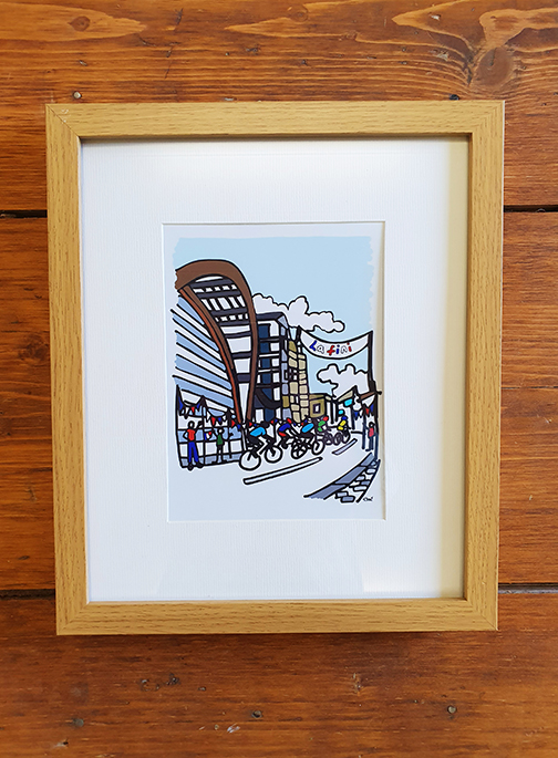 Cycling Sheffield 12 x 10 Framed Artwork