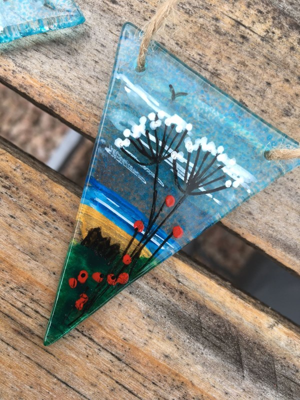 Hand painted fused glass beach scene bunting 2m