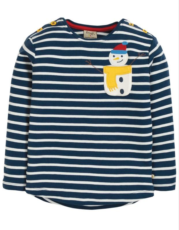 Frugi Louise Pocket Top Space Blue Breton/Snowman