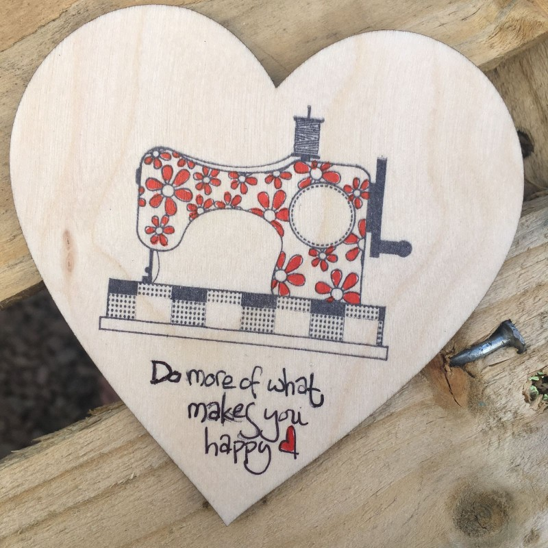Wooden heart coaster /hanging. Sewing machine . 10cm