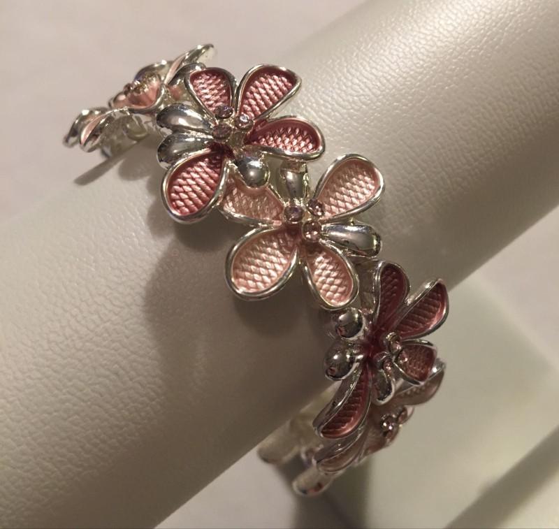 Crystal Flower Bracelet - Pink