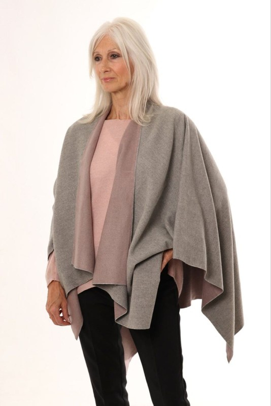 Reversible 2 Tone Cape - Grey/Dusky Pink
