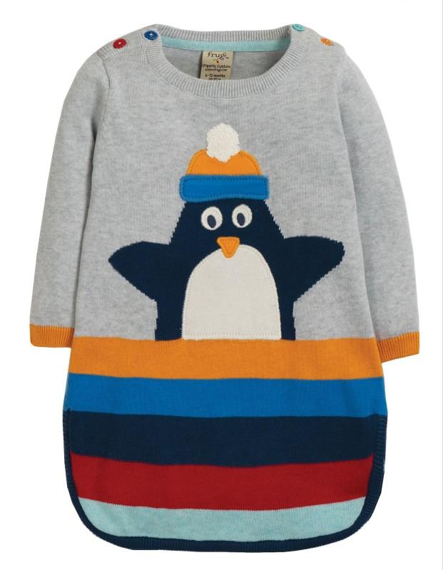 Frugi Kiri Knitted Dress Grey Marl/Penguin