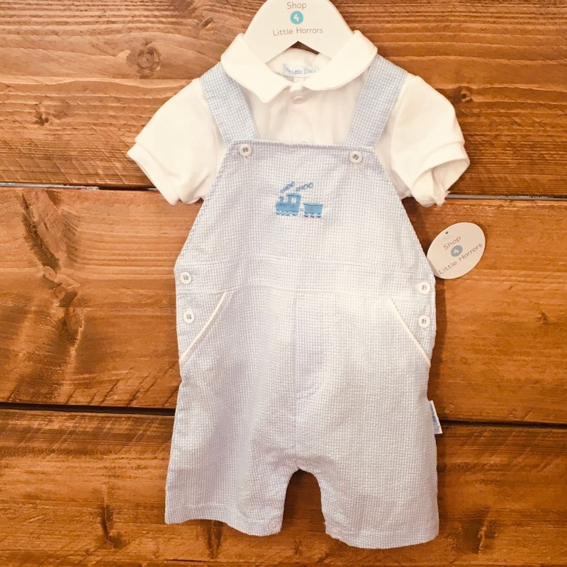 MY LITTLE CHICK BLUE/WHITE DUNGAREES/WHITE TOP 3-6M