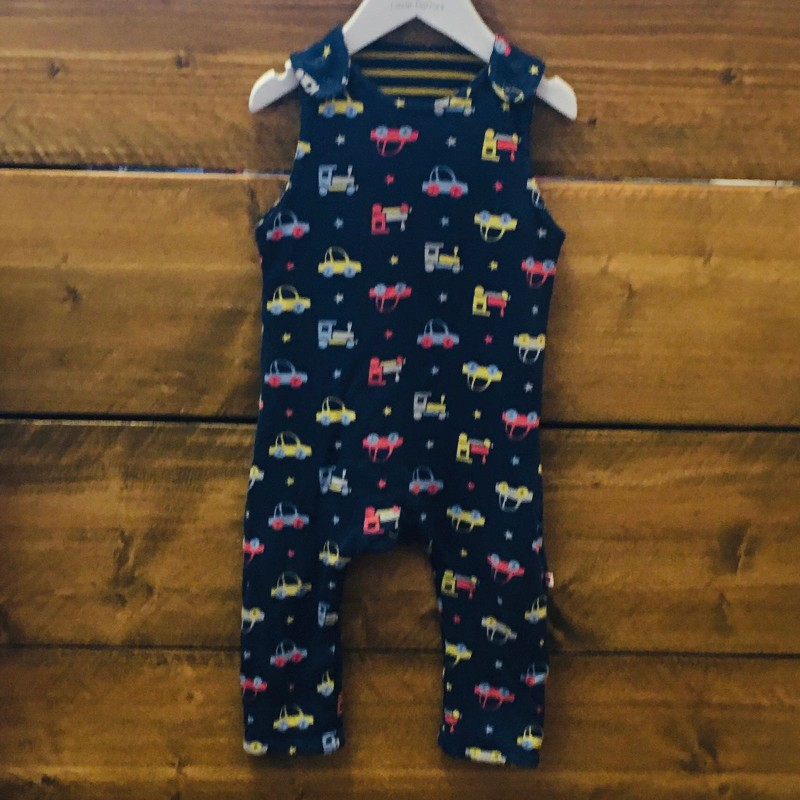 PICCALILLY REVERSIBLE DUNGAREES NAVY WITH TRUCKS AND A NAVY/MUSTARD STRIPY SIDE 12-18M