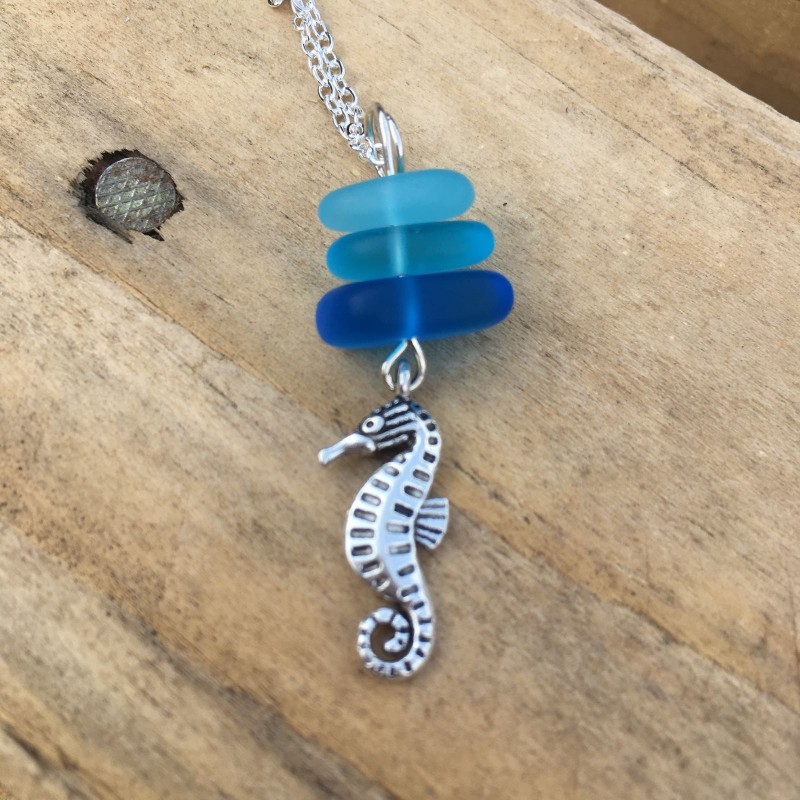 Fused glass seahorse silver plated chain  necklace
