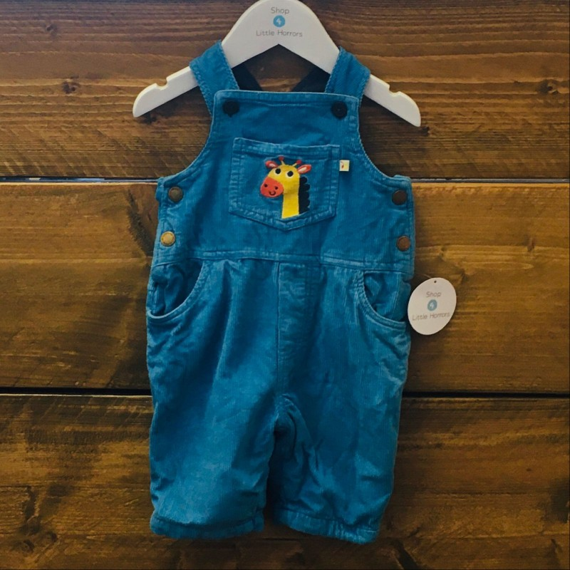 FRUGI BLUE CORD DUNGAREES 3-6M