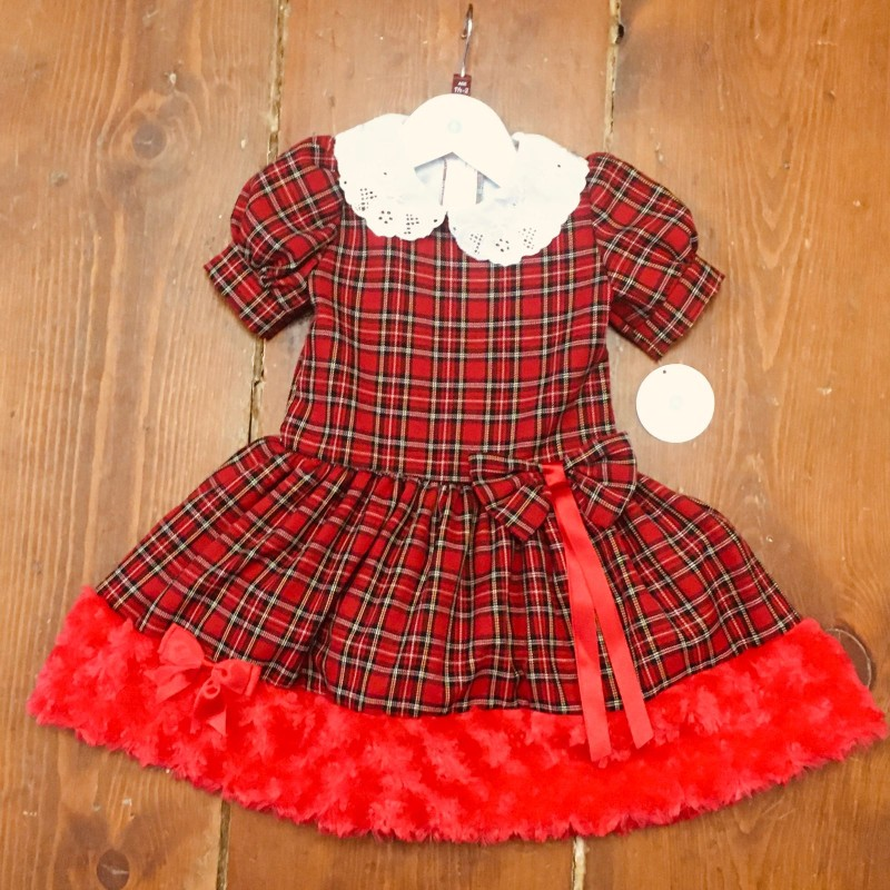 FRILLIES PARTY DRESS RED CHECK/RED FUR AROUND THE BOTTOM 18-24