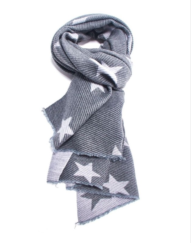 Pleated Scarf Stars - Grey
