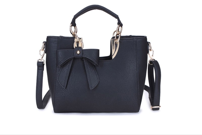 2 Section Bow Detail Bag - Black