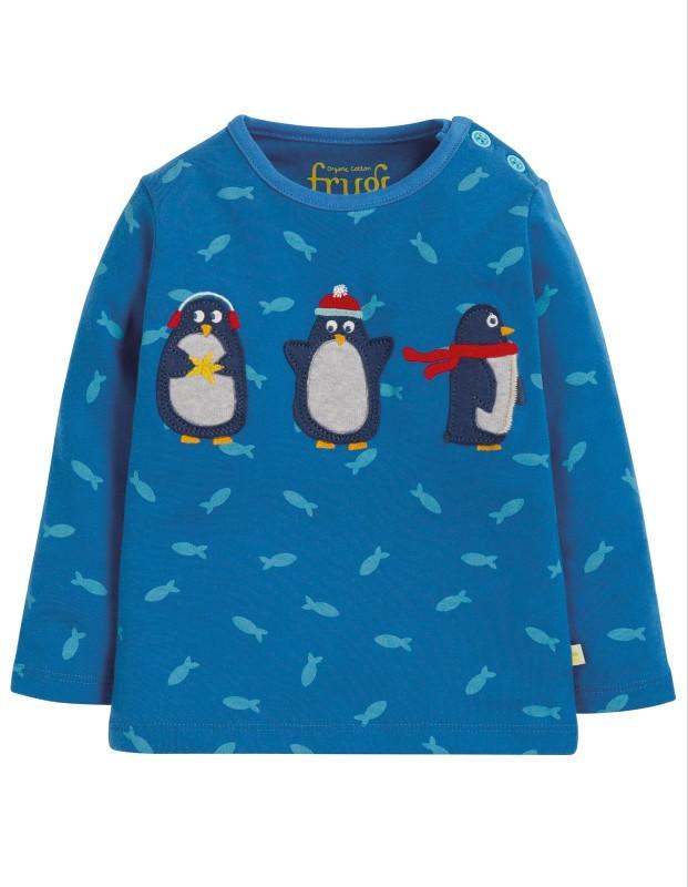 Frugi Button Appliqué Top Swimming Shoals/Penguins
