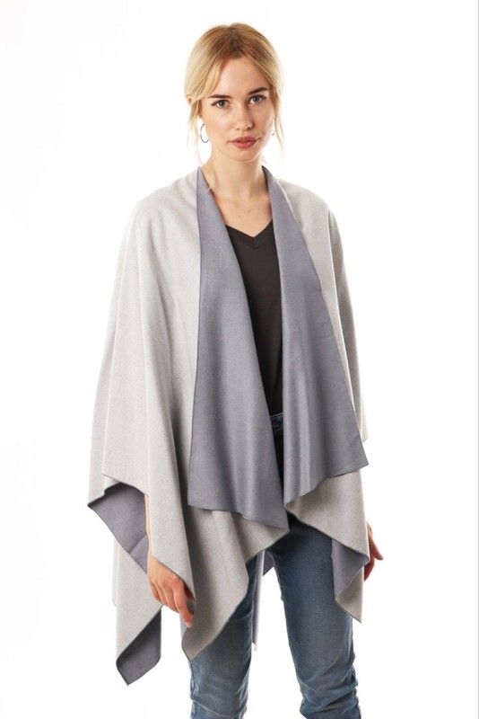 Reversible 2 Tone Cape - Light Grey/Blue
