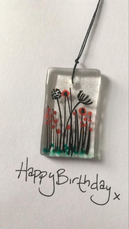 Greeting card with removable fused glass keepsake. Hand painted poppy meadow