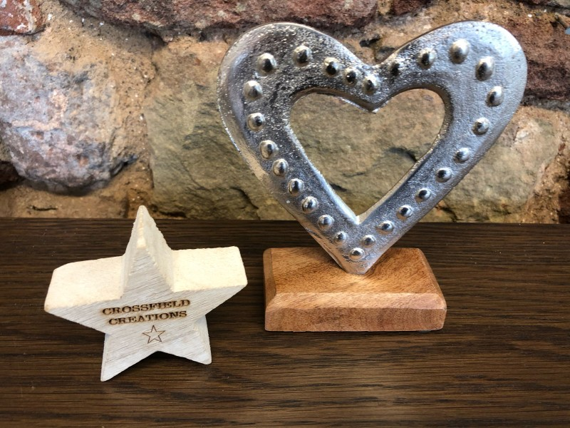 Metal Heart on Wooden Base