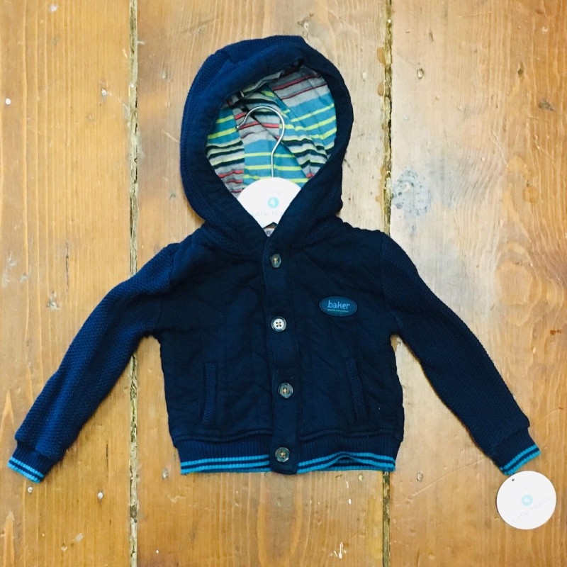 TED BAKER NAVY HOODED JACKET 3-6M