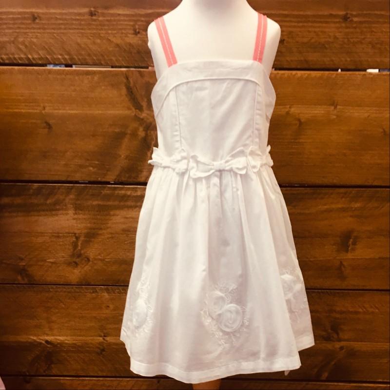 TAHARI WHITE DRESS WITH SALMON SHOULDER  STRAPS 3-4YRS