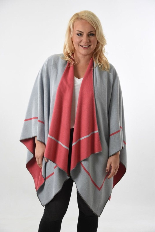 Reversible 2 Tone Cape with Stripe Edge - Pale Blue/Coral