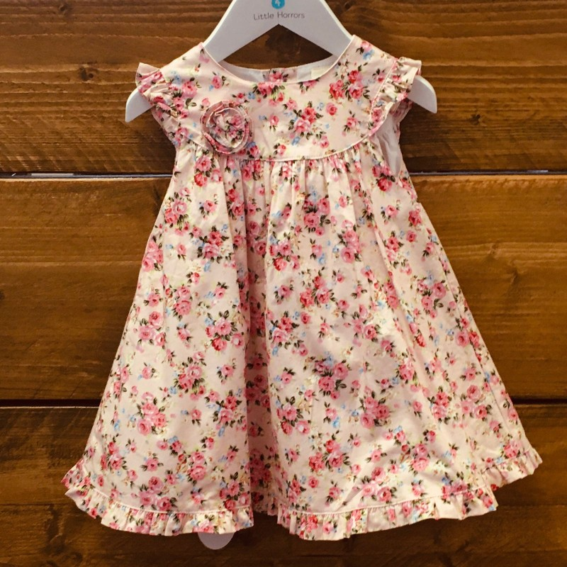 STRAWBERRY FAIRE LAYERED PINK/FLOWERY DRESS  6-9M
