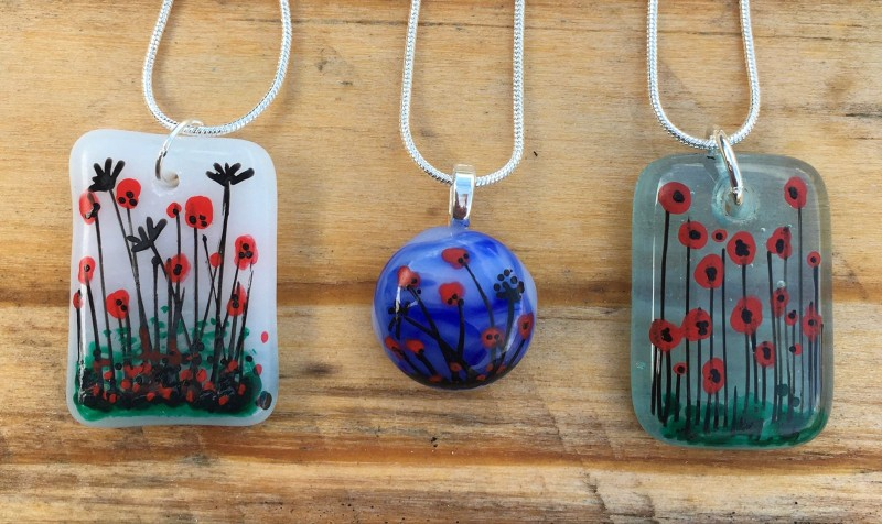 Fused glass hand painted poppy pendant on silver plated snake chain