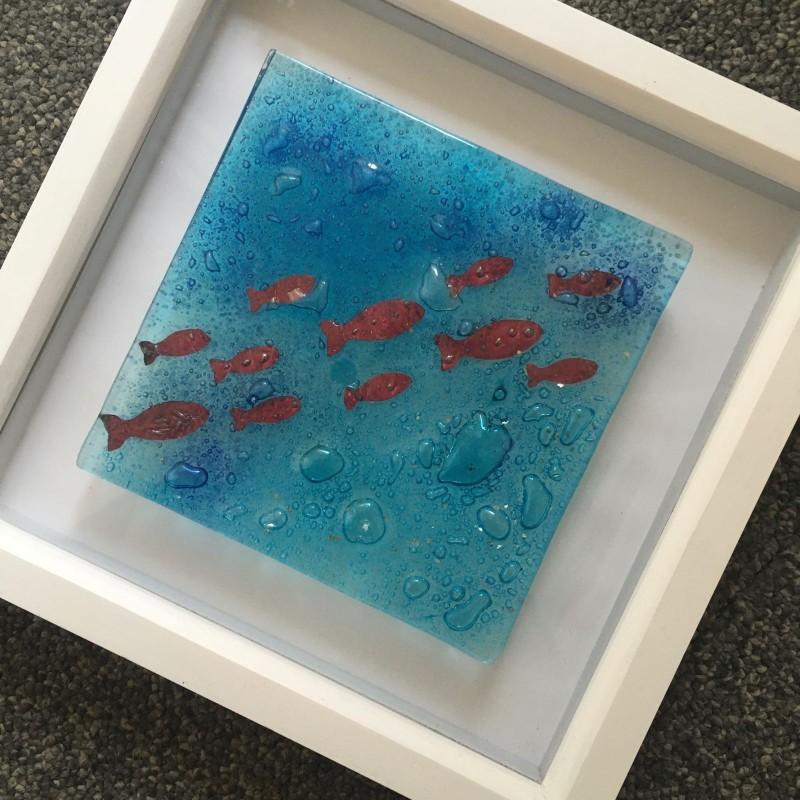 Fused glass bubble sea scene  with copper fish