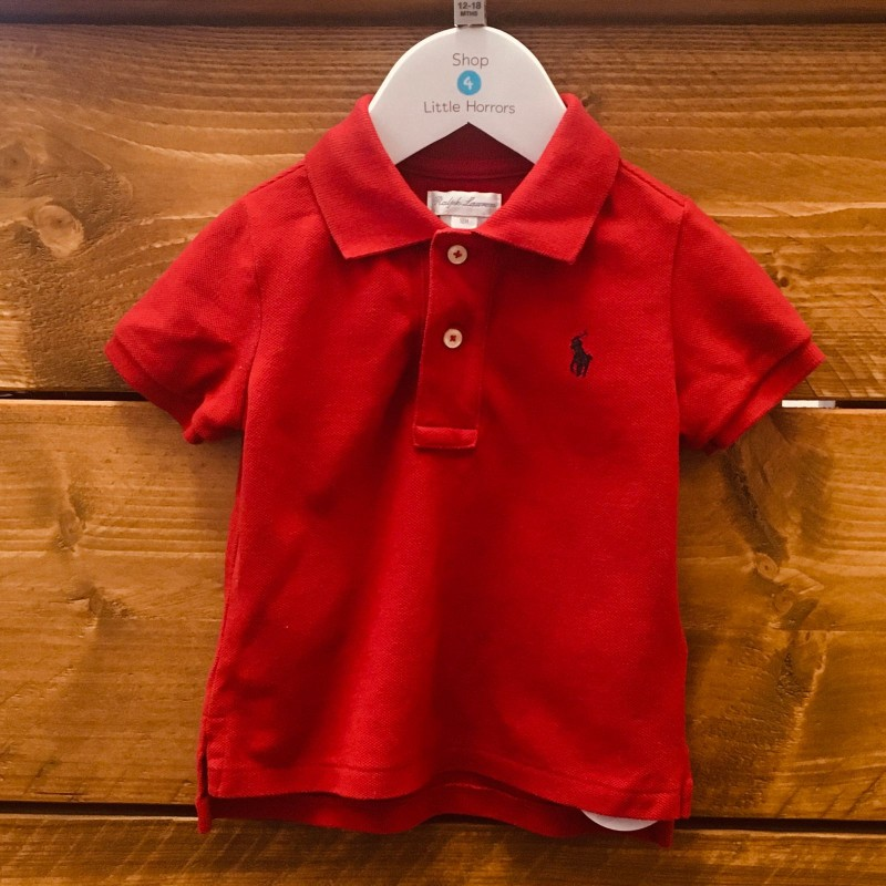 RALPH LAUREN RED POLO TOP 12M