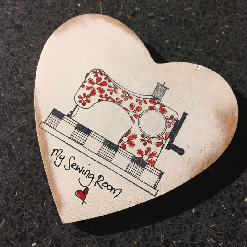 Wooden heart coaster / hanging  sewing machine 10cm