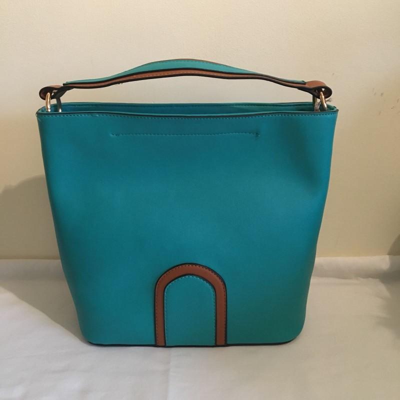 2 Tone Bucket Handbag - Turquoise