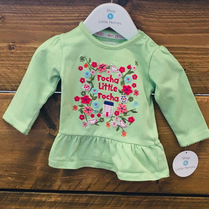 LITTLE ROCHA LONG SLEEVED GREEN/FLOWERS TOP 3-6M