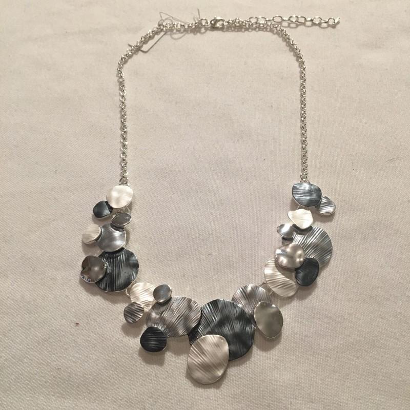 Disc Necklace - Silver/Grey
